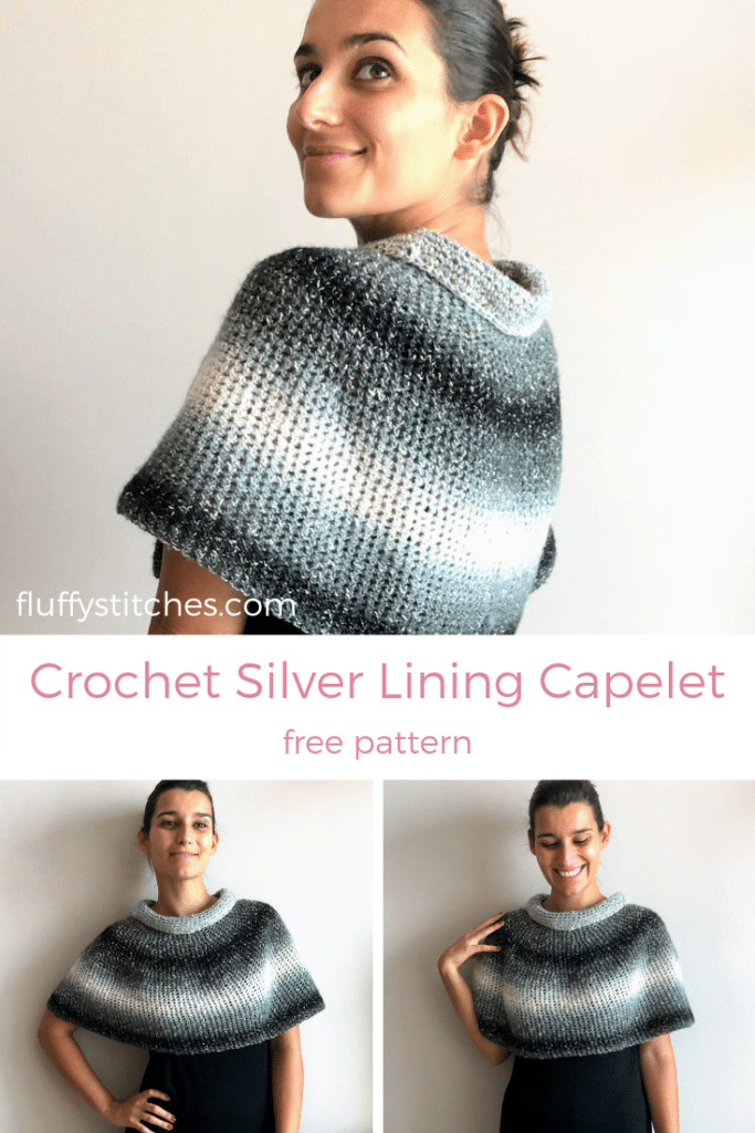 The image made for Pinterest of the Crochet Silver Lining Capelet