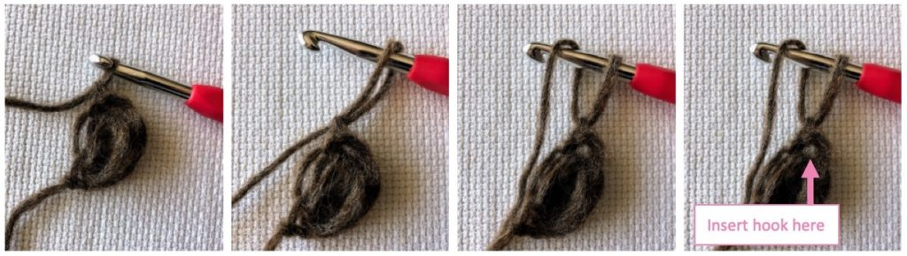 Where to insert hook when making foundation puff stitches