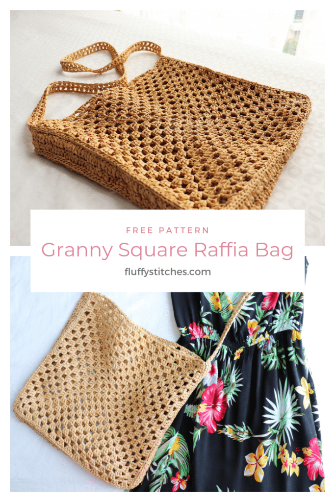 The image made for Pinterest of the crochet granny square raffia bag
