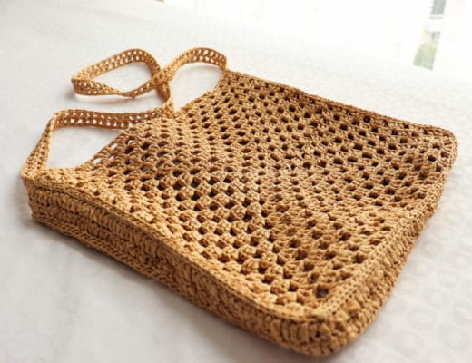 The cover image for the Crochet Granny Square Raffia Bag