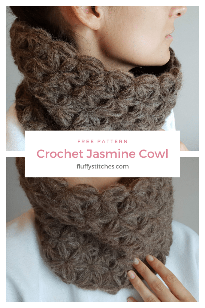 The image made for Pinterest of the Crochet Jasmine Cowl designed by Susana from Fluffy Stitches