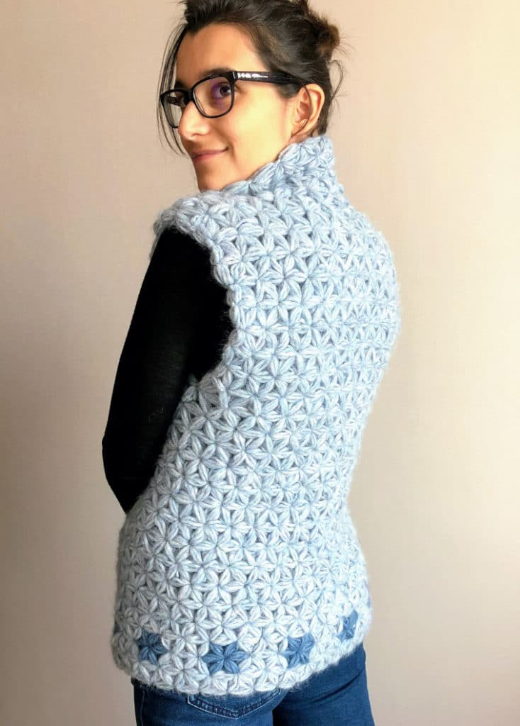 The Crochet Jasmine Vest seen from the back modeled by Susana from Fluffy Stitches