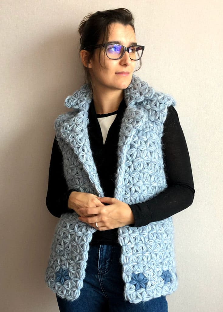 The Crochet Jasmine Vest seen from the front modeled by Susana from Fluffy Stitches