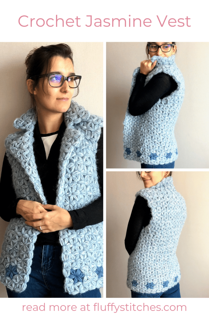 The image made for Pinterest of the Crochet Jasmine Vest designed by Susana from Fluffy Stitches