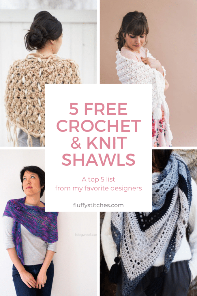 The image made for Pinterest of the top 5 favorite free crochet and knit shawls from my favorite designers