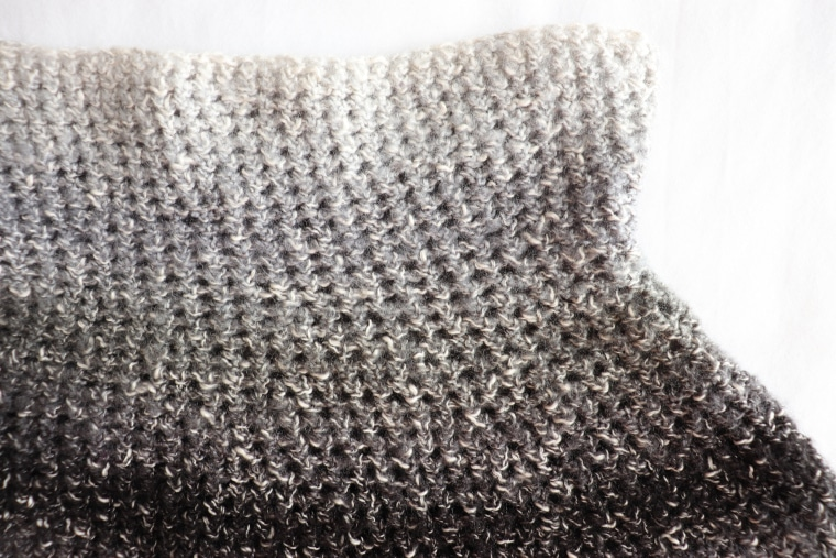 Detail of single crochet stitches from the capelet