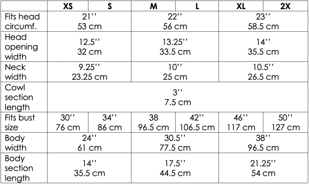 Table with the measurements of each part of the Crochet Silver Lining Capelet for each size