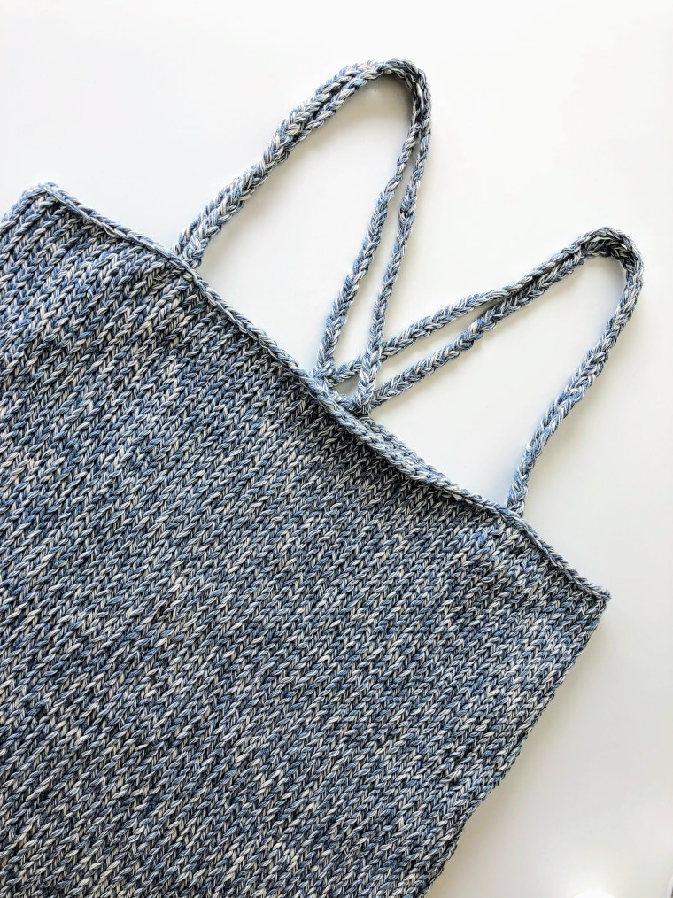Cover image of the Knit Upcycled Denim Top designed by Susana from Fluffy Stitches
