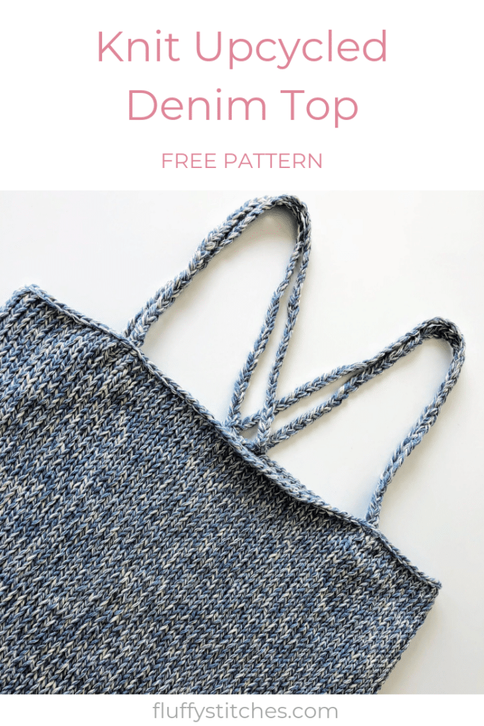 The image made for Pinterest of the Upcycled Denim Top designed by Susana from Fluffy Stitches