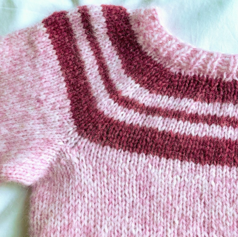 Detail of yoke from Sweet Knit Sweater