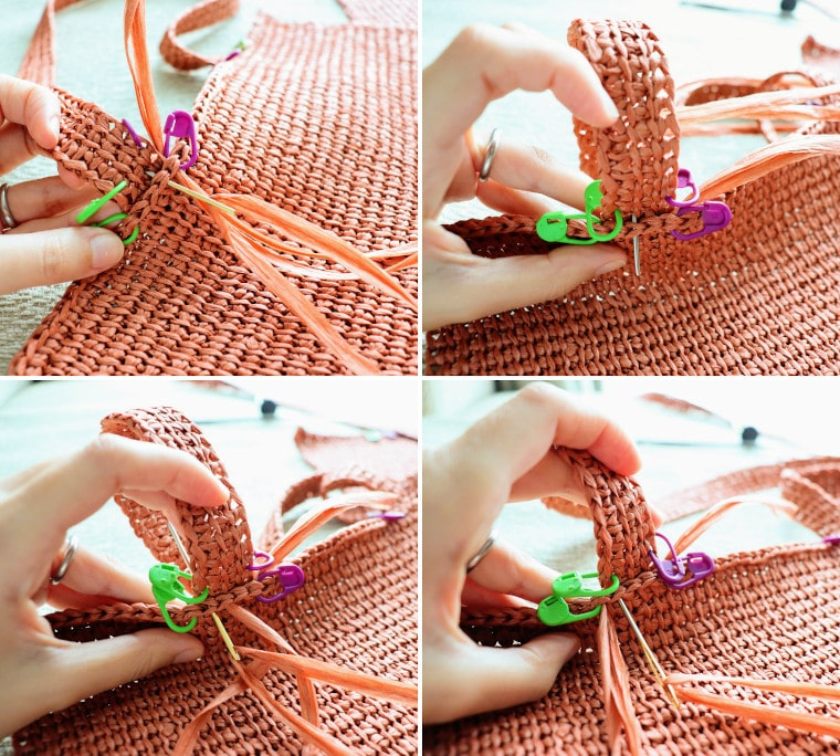 How to sew the row 4 of the strap to the slip stitch bind off