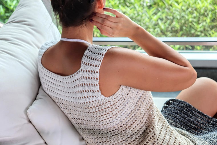 Detail of back of the Crochet Breezy Beach Dress