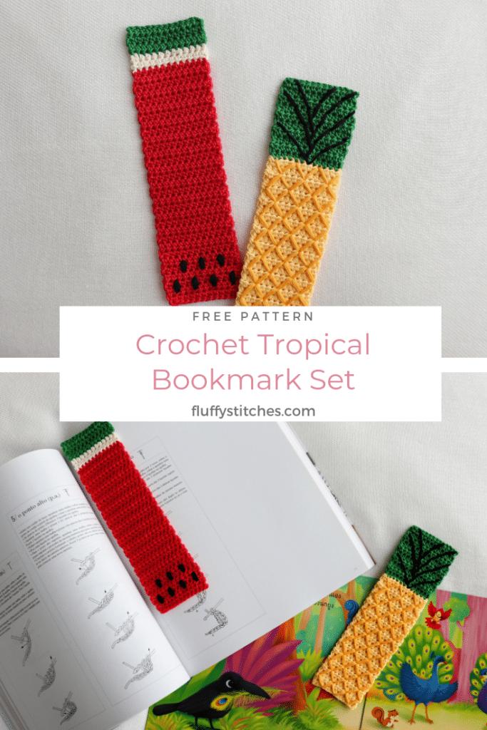 Pinterest image of the Crochet Bookmark Set