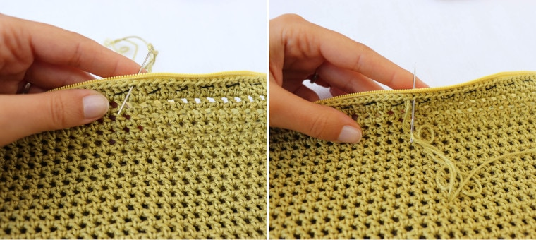 Sewing the zipper to the bag