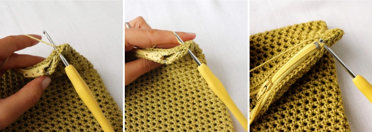 Slip stitching to close the gap between the edges of the bag and the zipper