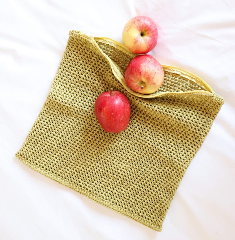Overview of the complete Crochet Eco-Friendly Fruit & Veggie Bag
