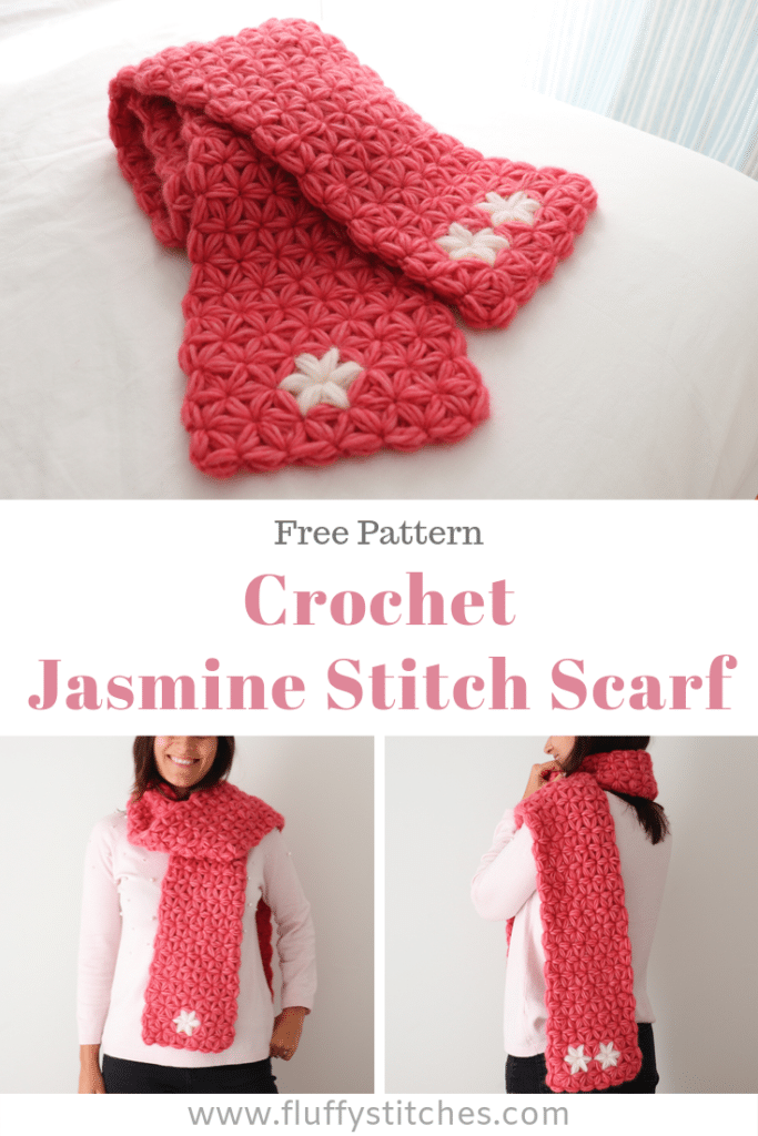 "The Crochet Jasmine Scarf is the accessory you need for this winter. With a wonderful ""squishy"" texture and unbelievably soft on the skin, this scarf made all in jasmine stitch will bring warmth to your days!"