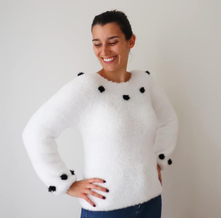 Susana from Fluffy Stitches wearing Cloud 9 Sweater