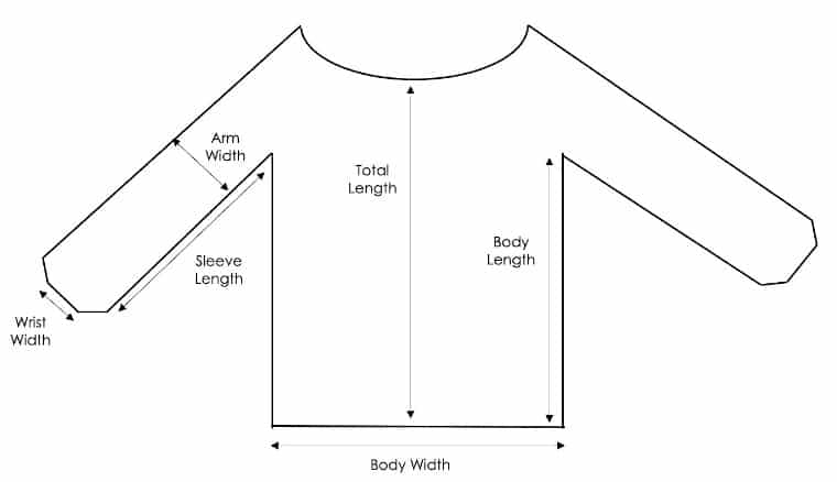 Schematic of the knit sweater