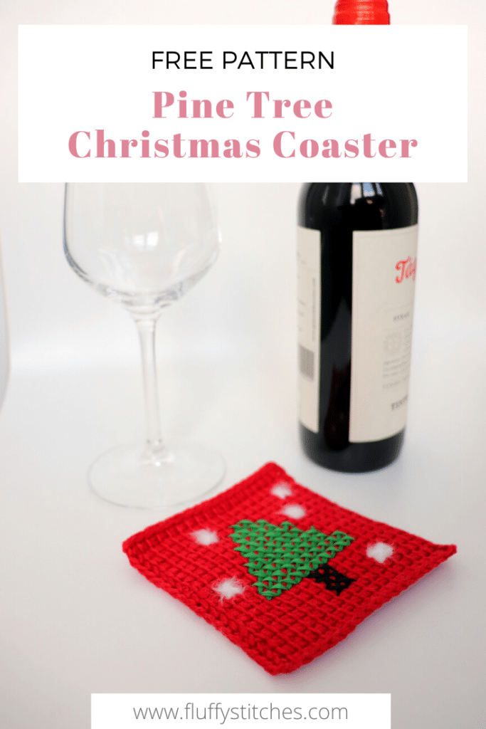 The Tunisian Pine Tree Christmas Coaster is the quick and easy pattern you were looking for! Perfect as a housewarming Christmas gift, or even as a great detail for your own Christmas table. Made in Tunisian crochet with cross-stitch details. The bright red mercerized cotton yarn for the background will make this piece shine and the details of faux fur yarn will make it stand out in any Christmas table!