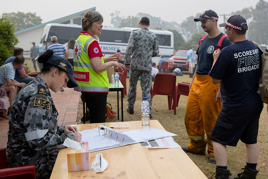 The Australian Red Cross on a disaster site