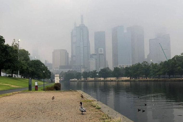 Haze over Melbourne city
