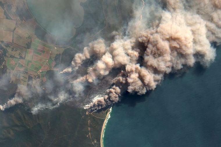 Smoke near Shark Creek in New South Wales.