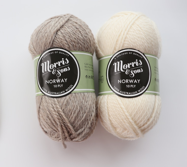 Two skeins of Morris & Sons Norway 10 ply yarn, one in cream the other in beige on a white surface