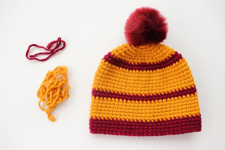 The crochet cross stitch beanie and its scraps