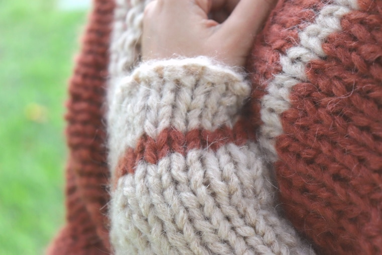 Detail of sleeve from the Knit Barcelona Shrug