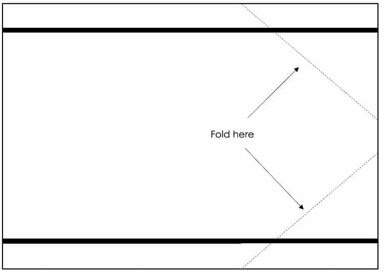 Schematic of how to fold the panel for the arm opening.