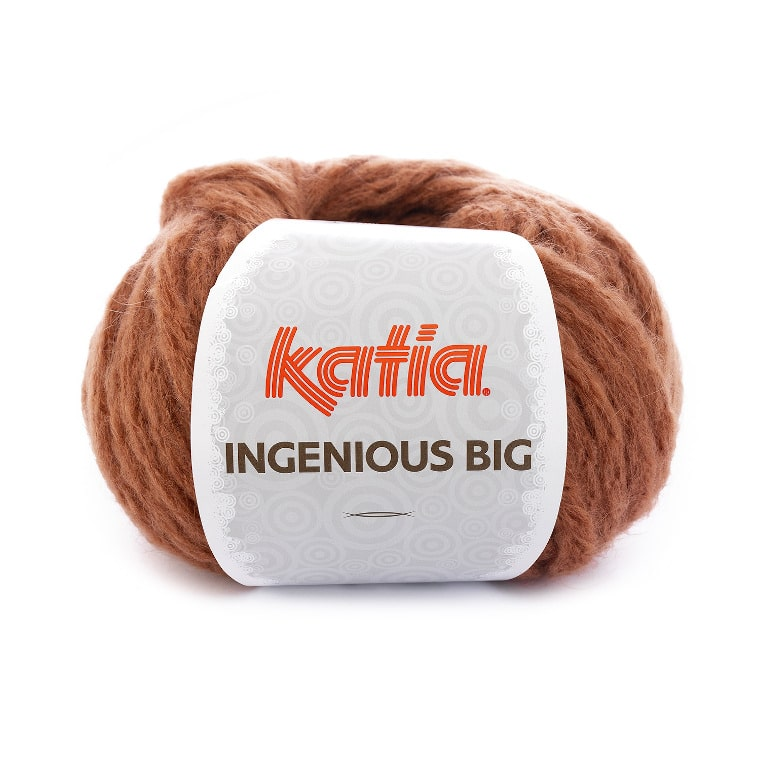 A skein of Katia Ingenious Big in Rust against a white surface