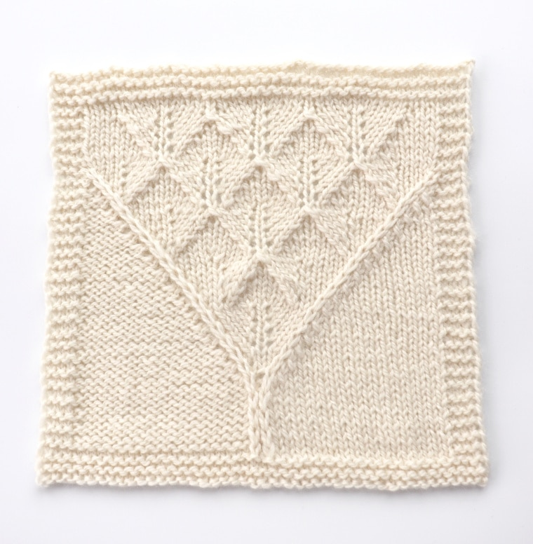 A knitted square that was blocked