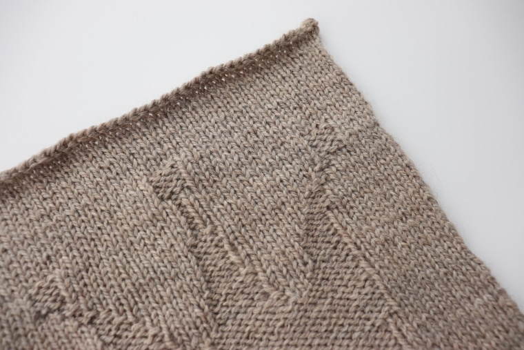 Detail of the third square of the Traveling Knit Afghan
