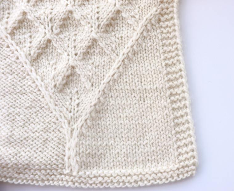 Detail of the second square of the Traveling Knit Afghan