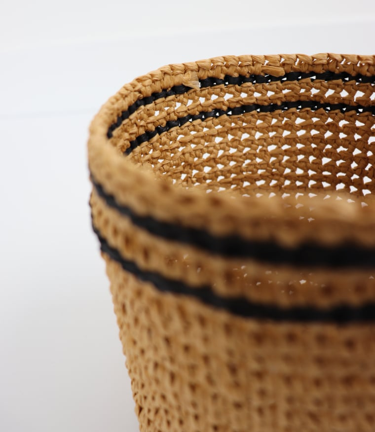 The inside of the raffia sleeve.