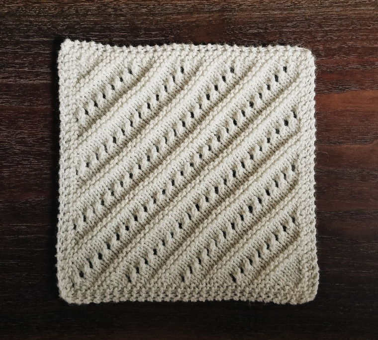 The fourth square of the Traveling Knit Afghan by knit brooks
