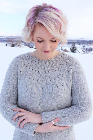 The Easy Eyelet Yoke Sweater from Knitatude