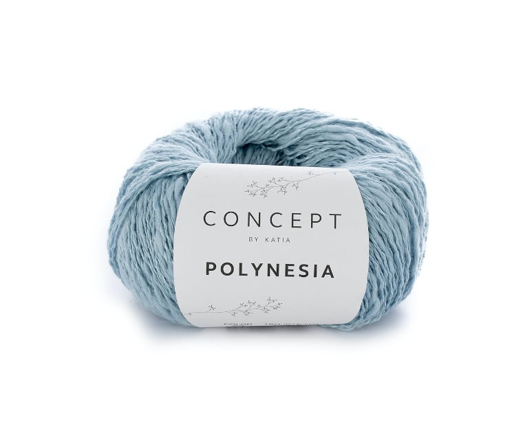 A skein of Polynesia Concept by Katia in Water Blue against a white surface