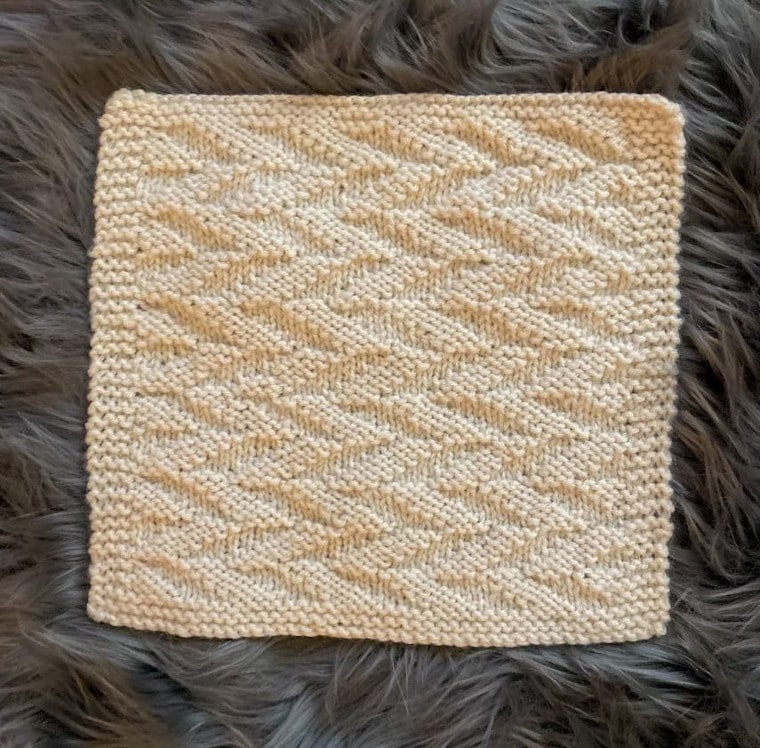 The seventh square of the Traveling Knit Afghan by Christie Bodden Designs