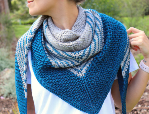 The Tunisian Crochet Loveland Shawl worn around the neck