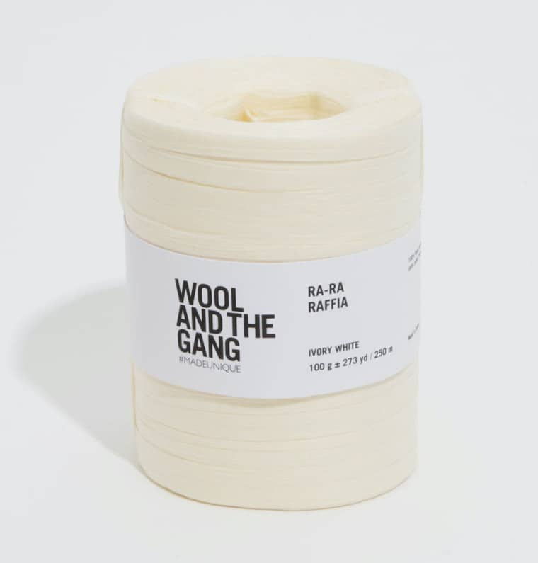A skein of Ra-Ra Raffia from Wool And the Gang in Ivory White against a white surface