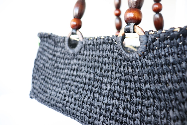 A detail of the handles on the Tunisian raffia Bag Project
