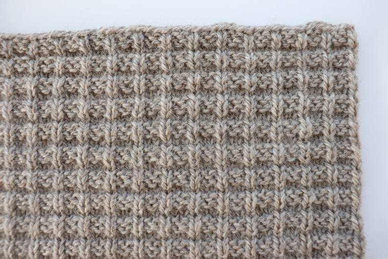 Detail of square eleven of the Traveling Knit Afghan