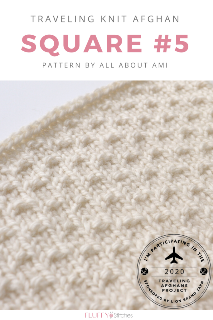 Square Five of the Traveling Knit Afghan, designed by All About Ami is here. A beautiful and delicate design achieved with simplicity. Come and see it! #travelingknitafghan #travelingafghansproject