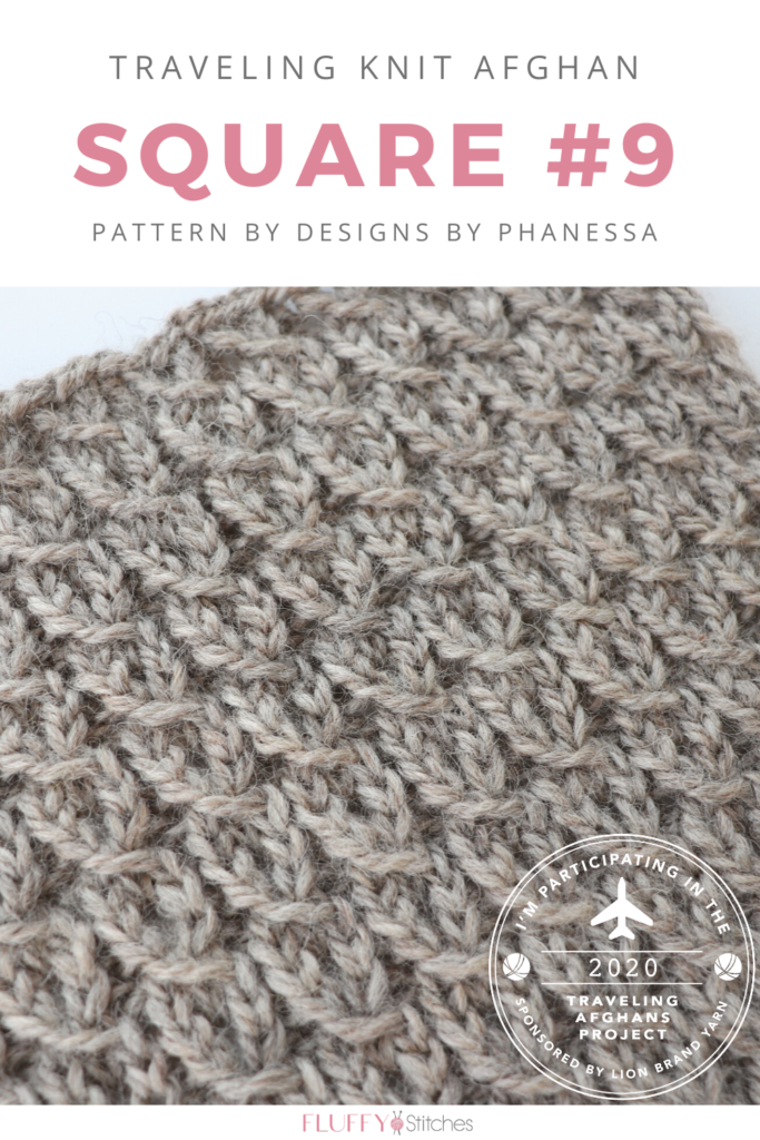 Designs by Phanessa just shared Square Nine of the Traveling Knit Afghan! Read about this pattern and my experience for a great tip to get it just right! #travelingknitafghan #travelingafghansproject