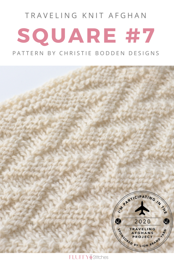 Square Seven of the Traveling Knit Afghan, designed by Christie Bodden is out to make some waves! Read all about it right here on the blog! #travelingknitafghan #travelingafghansproject