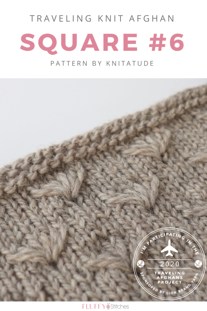 Square Six of the Traveling Knit Afghan, designed by Knitatude get us to welcome spring with a wonderful flower pattern! Read about it here! #travelingknitafghan #travelingafghansproject