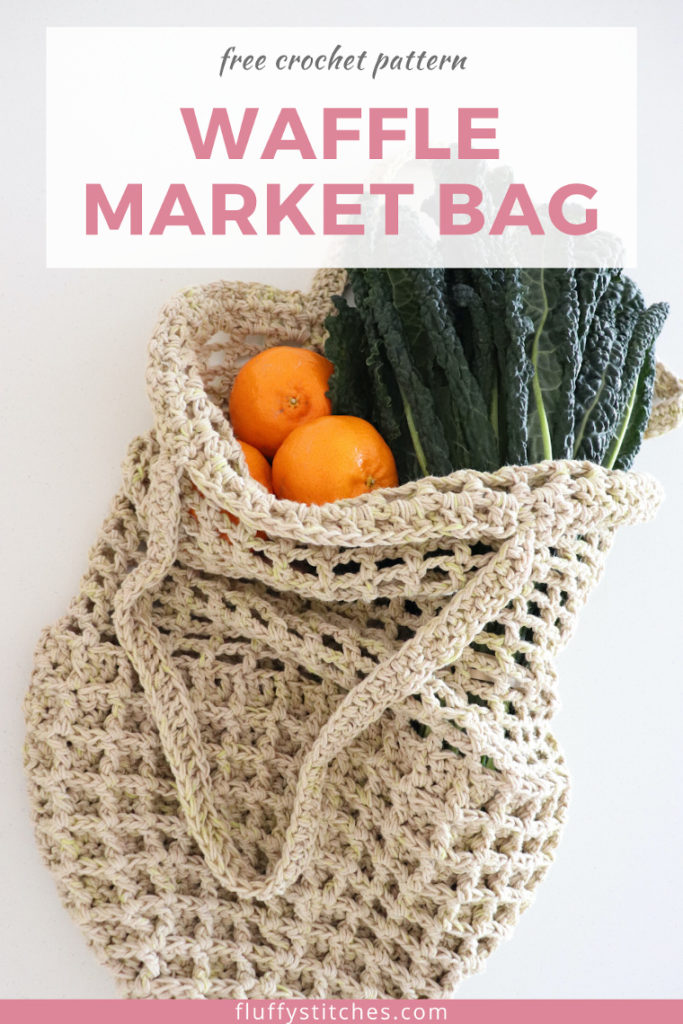 Carry all your groceries with the crochet Waffle Market Bag! Made with an eco-friendly yarn, this crochet bag uses the waffle stitch for a sturdy base and an easy mesh to add length. It is the perfect bag for your farmer's market shopping! #crochetbagpattern #beginnercrochet #crochetwafflebag