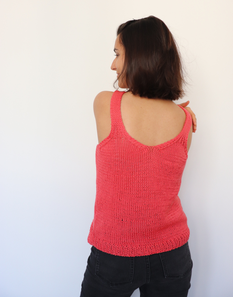 The back of the Tulip Wrap Tank by Knitatude